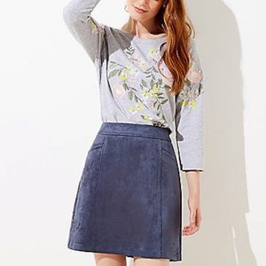 NWT LOFT blue suede skirt